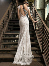 Unique Lace Bohemian Wedding Dress With Cap Sleeves Open Back Mermaid Bridal Gown WD379
