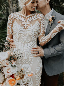 Unique Boho Chic Lace Long Sleeves Wedding Dresses Backless Bohemian Bridal Gown WD382