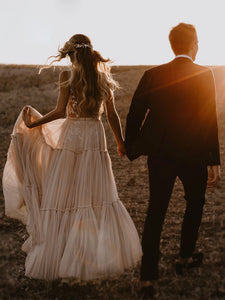 Unique Deep V Neck Wedding Dress Boho Hippie Style Whimsical Ruched Skirt Tulle Bridal Gown WD386
