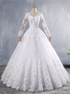 Vintage Long Sleeve Lace Appliques Wedding Dresses A Line Bridal Gown WD388