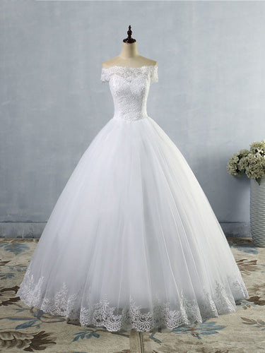 Off the Shoulder Lace Tulle Wedding Dresses A Line Bridal Gown WD390
