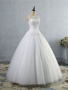 Round Neckline Sheer Back A-Line Wedding Dresses Bridal Gown with Buttons WD391