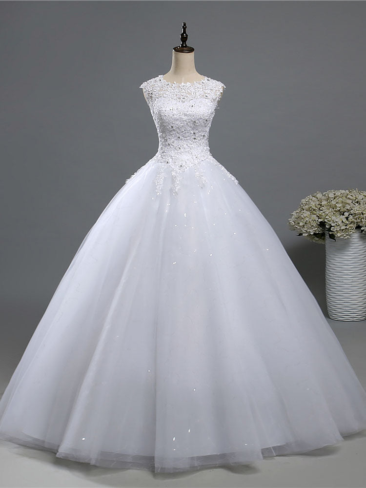 A Line Lace Tulle Wedding Dresses Bridal Gown with Crystal Beads WD392