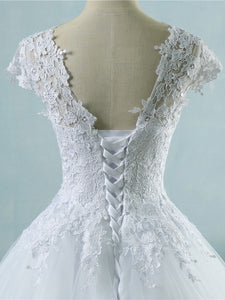 Lace Appliques Tulle Short Cap Sleeve A Line Wedding Dresses bridal Gown WD393