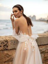High Split Boho Wedding Dresses Appliques Lace Off the Shoulder Bride Gown with Buttons WD394