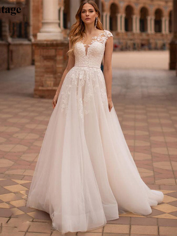 Bohemia Sheer Scoop Appliques Lace Wedding Dresses Bridal Gown with Buttons WD395