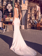 Sexy Mermaid Satin Bridal Dress Illusion Back Appliques Lace Wedding Dresses WD396