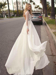 Sexy Slit Side Chiffon Wedding Dresses High Neck Long Sleeve Backless Lace Boho Bridal Gown WD397