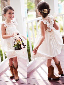 Cute Short White Ivory Flower Girl Dresses For Weddings ASD096