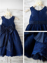 Navy Short Lace Flower Girl Dresses Baby Kids Ball Gown ASD061