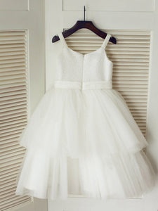 White Ivory Short Sequins Flower Girl Dress Tutus ASD086
