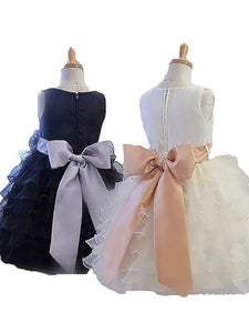 Organza Ruffles Short Flower Girl Dress Kids Ball Gown ASD046