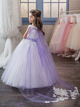 White Purple Flower Girl Dresses with a Shawl Girls' Pageant Dress for Teens ALD077