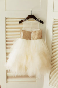 Golden Sequins Puffy Tutus Short Flower Girl Dresses ASD016