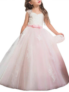 White Pink Lace A Line Flower Girl Dresses Girl's Pageant Dress ALD062