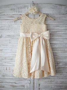 Champagne Short Lace Flower Girl Dresses Kids Ball Gown Party Dress ASD050
