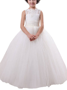 Country White Ivory Flower Girl Dresses A Line First Communion Dress MFD003