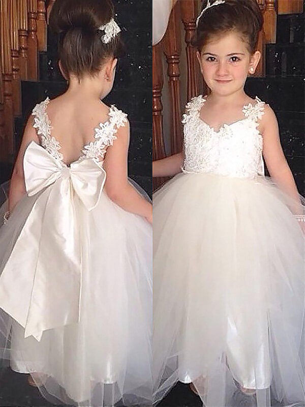 White Ivory Lace Long Flower Girl Dresses V Back with Big Bow Sash ALD024