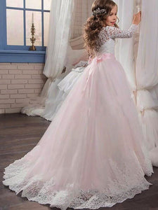 Lace Long Sleeve Flower Girl Dress Pageant Gown for Teens ALD056