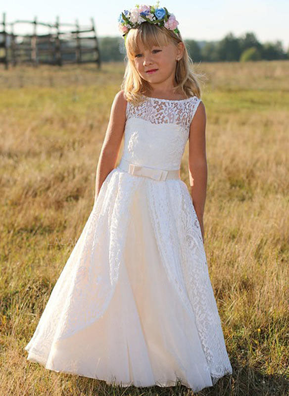White Ivory Lace Flower Girl Dresses for Wedding Kids Princess Gown ALD094