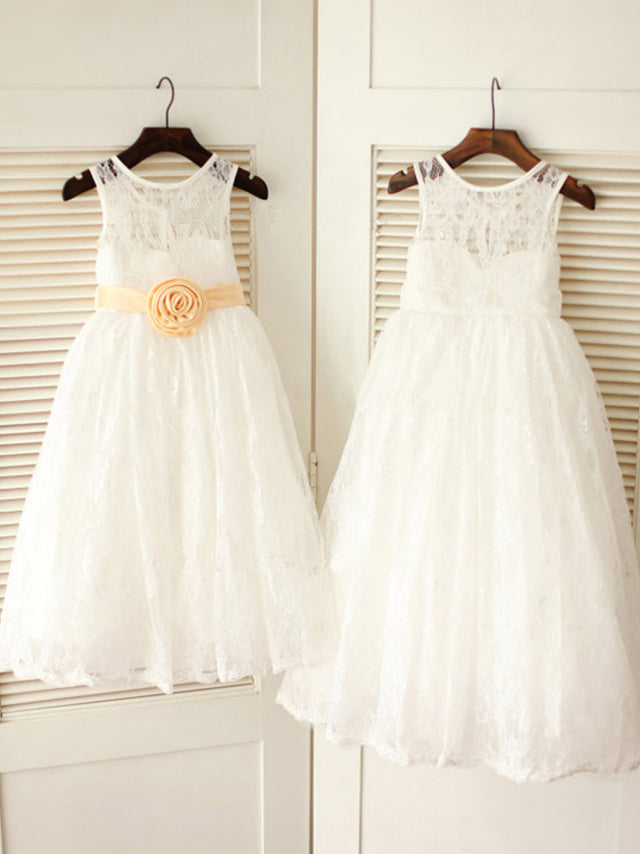Round Neck Short Lace Flower Girl Dresses with Removable Sash ASD019