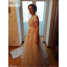 Lace A-line Wedding Dresses Cap Sleeve  V-Neck Bridal Gown WD317