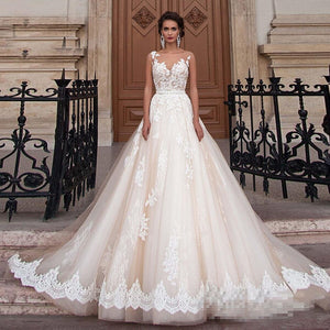 Romantic Champagne Lace Applique Scoop Neck Wedding Dresses with Detachable Beading Sash WD305