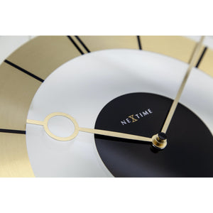 NeXtime - Wall clock – Ø 31 cm - Glass - Gold - 'Retro'