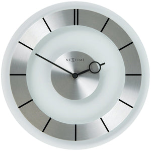 NeXtime - Wall clock – Ø 31 cm - Metal - Glass -Transparent -  'Retro'