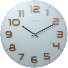 Load image into Gallery viewer, NeXtime - Wall clock – 50 x 3.5 cm - Glass - White Copper - 'Classy Large'