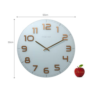 NeXtime - Wall clock – 50 x 3.5 cm - Glass - White Copper - 'Classy Large'