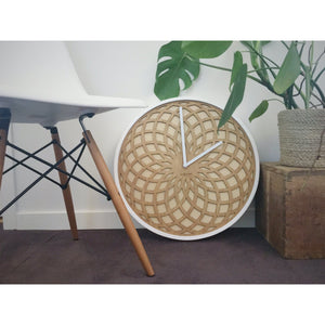 NeXtime - Wall clock – Ø 50 cm - Wood & Fabric - Beige - 'Sun Big'