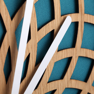 NeXtime - Wall clock – Ø 50 cm - Wood & Fabric - Turquoise - 'Sun Big'