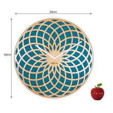 Load image into Gallery viewer, NeXtime - Wall clock – Ø 50 cm - Wood & Fabric - Turquoise - 'Sun Big'