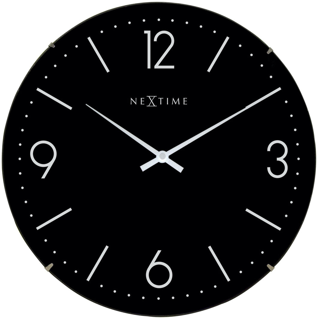 NeXtime - Wall clock - Ø 35 cm  - Dome Glass - Black - 'Basic Dome'