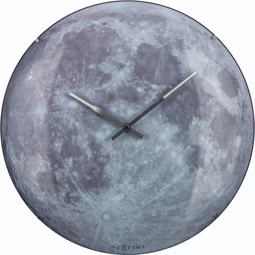 NeXtime - Wall clock - Ø 35 cm  - Dome Glass - Glow-in-the-dark-  'Blue Moon dome'