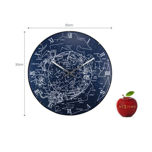 NeXtime - Wall clock – Ø 35 cm  - Dome Glass - Glow-in-the-dark- 'Milky Way dome'