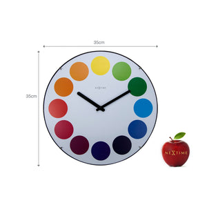 NeXtime - Wall clock - Ø 35 cm  - Dome Glass - White - 'Dots dome'