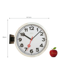 NeXtime - Wall clock - Ø 36 cm - Aluminum/Glass – White – 'Station Double'