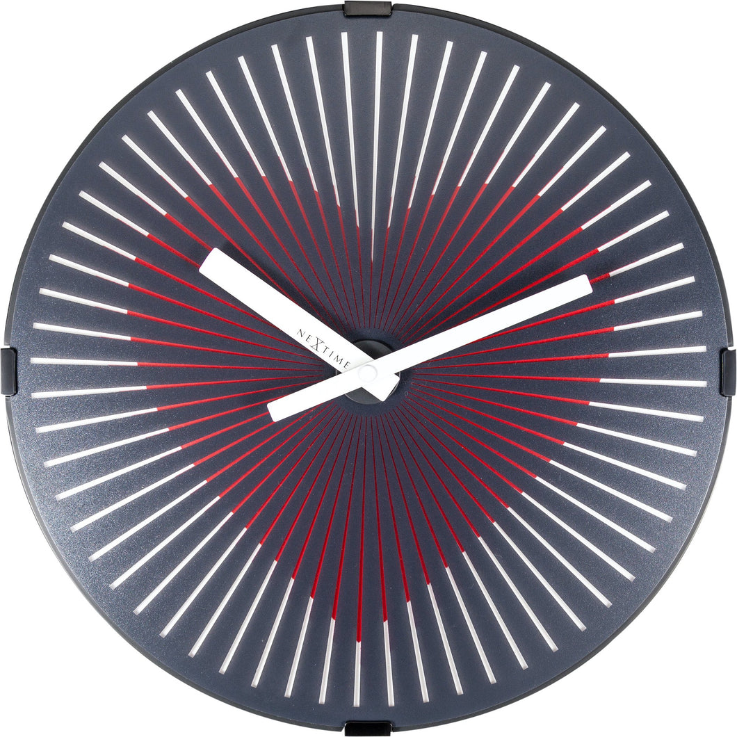 NeXtime - Wall clock- Ø 30 cm – Plastic – Motion clock- Black – 'Motion Heart – Red'