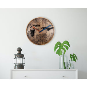 NeXtime - Wall clock- Ø 40 cm – Wood – Various colors – 'Tropical birds'