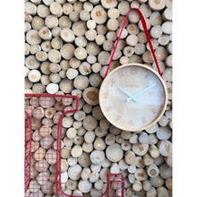 Load image into Gallery viewer, NeXtime - Wall clock- Ø 26 cm – Wood/Fabric– Red – 'Loop Small'