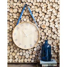 Load image into Gallery viewer, NeXtime - Wall clock- Ø 40 cm – Wood/Fabric – Blue – 'Loop Big'