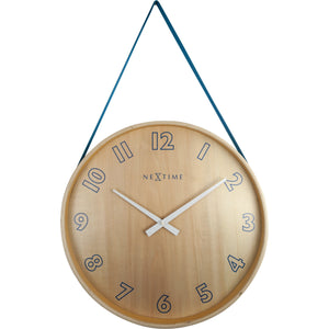NeXtime - Wall clock- Ø 40 cm – Wood/Fabric – Blue – 'Loop Big'