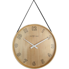 Load image into Gallery viewer, NeXtime - Wall clock- Ø 40 cm – Wood/Fabric – Black – 'Loop Big'