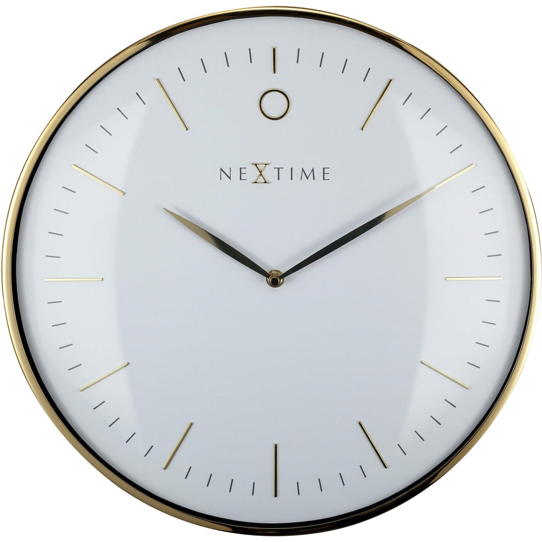 NeXtime - Wall clock- Ø 40 cm – Metal – Dome shaped glass- White – 'Glamour'