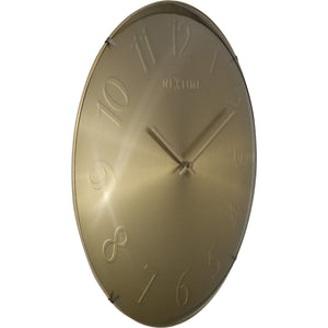 NeXtime - Wall clock- Ø 35 cm – Glass – Dome shaped glass- Gold – 'Elegant Dome'