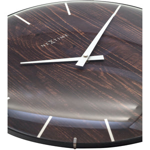 NeXtime- Wall clock - Ø 35 cm - Dome Glass - Brown - 'Edge Wood Dome'