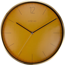 Load image into Gallery viewer, NeXtime- Wall clock - Ø 34 cm - Glass / Metal - Fruity Manderin - 'Essential Gold'