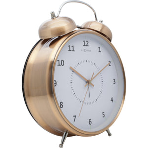 NeXtime - Table clock – Ø 23 cm - Metal - Copper - 'Wake Up'